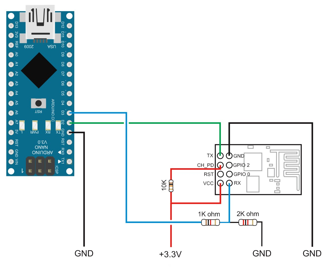Connect an ESP8266 module to an Arduino Nano and control it