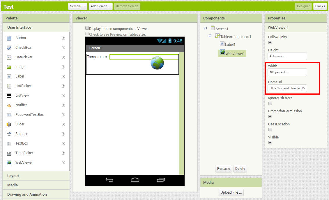 Build an App with App Inventor which can display values of a